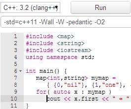 Online C++ compilers : Standard C++